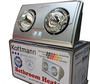 Đèn sưởi nhà tắm Kottmann 2 bóng mạ bạc