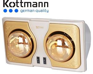 Đèn sưởi nhà tắm Kottmann 2 bóng mạ vàng không chói mắt