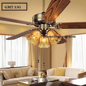 Quạt trần đèn trang trí cánh gỗ GMT 53G
