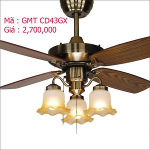 Quạt trần đèn trang trí cánh gỗ GMT CD43GX
