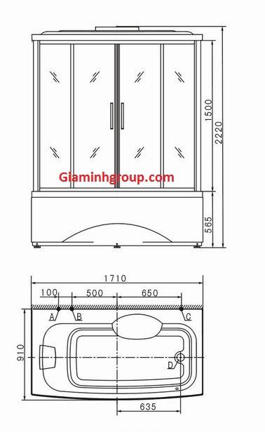 Bản vẽ kỹ thuật phòng tắm xông hơi ướt Appollo A-1700