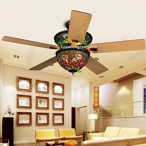 Quạt trần đèn trang trí cánh gỗ GMT 8028