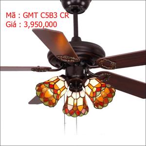 Quạt trần đèn trang trí cánh gỗ GMT C5B3 CR