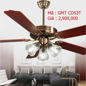 Quạt trần đèn trang trí cánh gỗ GMT CD53T